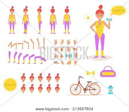 Sporty woman for animation. Poses front, rear, side, three quarter. Creation set. Collection of emotions. Vector. Cartoon. Isolated art on white background. Flat. Different positions of the hands