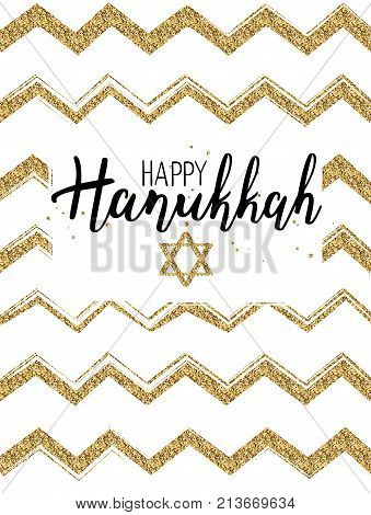 Vector illustration of Happy Hanukkah. Lettering text sign isolated on white background. Judaism symbol. Hanukkah logo for greeting card template