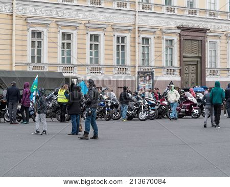 St. Petersburg Russia - September 10 2017: Bikers on the Palace Square. Closing season