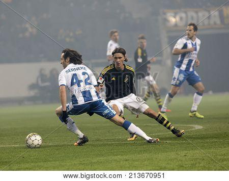 SOLNA SWEDEN - OCT 30 2017: Soccer player Mikkel Diskerud (IFK Goteborg) dribble. October 30 2017SolnaSweden