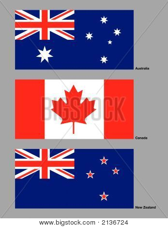 Australia, Canada And New Zealand Flags.Eps