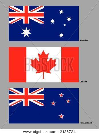 Australien, Kanada und Neuseeland flags.eps