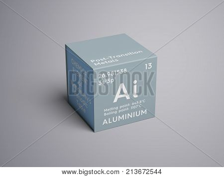 Aluminium. Post-transition Metals. Chemical Element Of Mendeleev's Periodic Table. 3D Illustration.