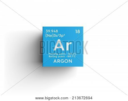 Argon. Noble Gases. Chemical Element Of Mendeleev's Periodic Table 3D Illustration.