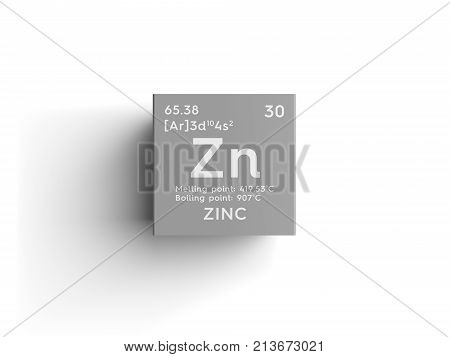 Zinc. Transition metals. Chemical Element of Mendeleev's Periodic Table. Zinc in square cube creative concept. 3D illustration. poster
