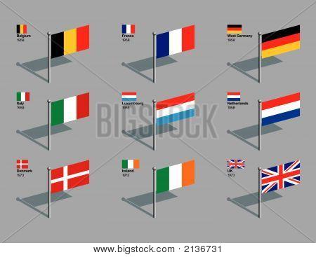 Flag Pins - Eu 1958 - 1973.Eps