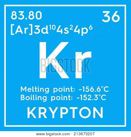 Krypton. Noble Gases. Chemical Element Of Mendeleev's Periodic Table.. 3D Illustration.