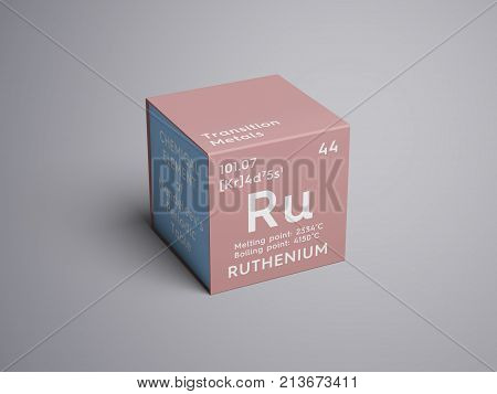 Ruthenium. Transition Metals. Chemical Element Of Mendeleev's Periodic Table.. 3D Illustration.