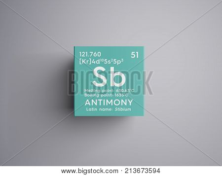 Antimony. Stibium. Metalloids. Chemical Element Of Mendeleev's Periodic Table.. 3D Illustration.