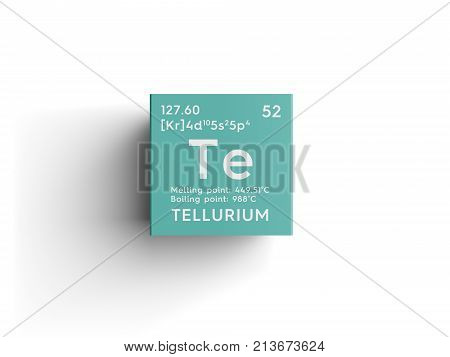 Tellurium. Metalloids. Chemical Element Of Mendeleev's Periodic Table.. 3D Illustration.