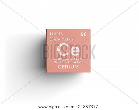 Cerium. Lanthanoids. Chemical Element Of Mendeleev's Periodic Table. 3D Illustration.