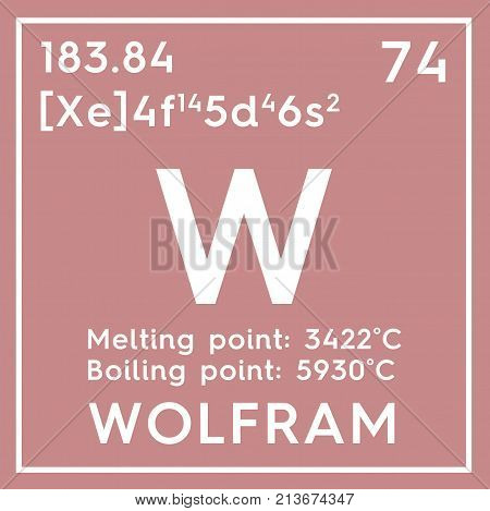 Wolfram. Transition Metals. Chemical Element Of Mendeleev's Periodic Table. 3D Illustration.