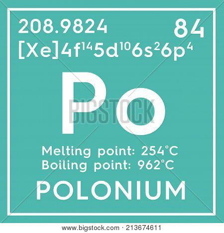 Polonium. Metalloids. Chemical Element Of Mendeleev's Periodic Table. 3D Illustration.