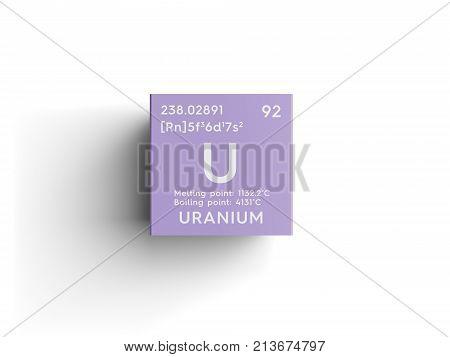 Uranium actinoids chemical image photo bigstock uranium actinoids chemical element of mendeleevs periodic table uranium in square cube creative concept 3d illustration urtaz Image collections