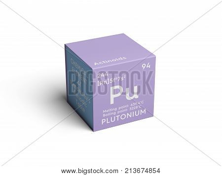 Plutonium. Actinoids. Chemical Element Of Mendeleev's Periodic Table.. 3D Illustration.