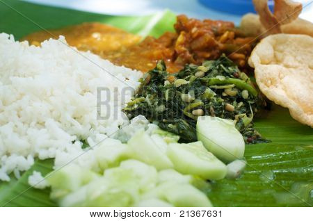 Indian cuisine banana leaf rice poster