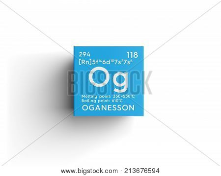 Oganesson. Noble Gases. Chemical Element Of Mendeleev's Periodic Table. 3D Illustration.