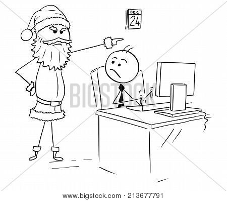 Man Working On Computer During Christmas