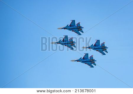 ROSTOV-ON-DON, RUSSIA - AUGUST, 2017: Russian strike fighter Sukhoi Su-30SM from Russian Knights team flies during air show in Rostov-on-Don