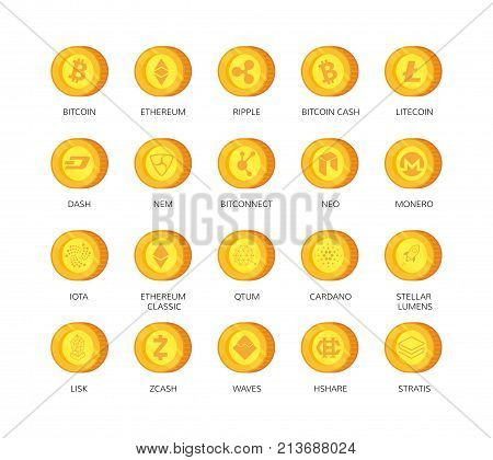 Vector set of cryptocurrency icons. Top 20 signs related to bitcoin and based on blockchain technologie crypto currencies with fast growing market capitalization. Such as bitcoin, ethereum, ripple, litecoin, dash, nem, bitconnect, neo, monero, iota, etc.