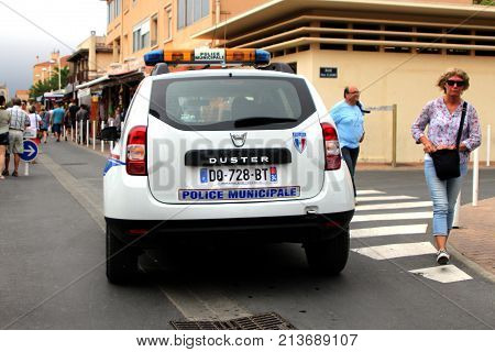 Valras-plage, Herault, France - Aug 25 2017: Dacia Duster Car In The Livery Of The French City Polic