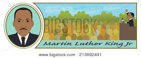Cartoon illustration of Martin Luther King Jr portrait and speaking in front of a crowd. Eps10