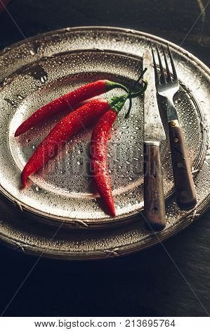Chili Peppers On A Plate