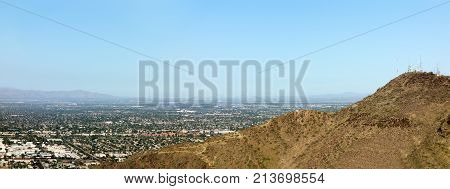 West side of Valley of the Sun looking at Glendale Peoria and Phoenix from North Mountain Park Arizona