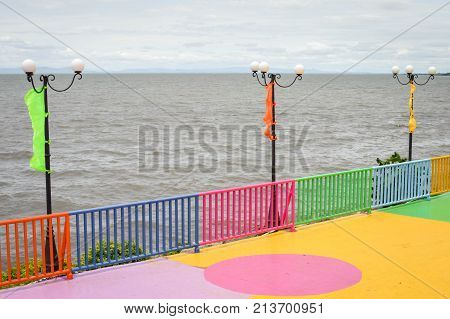 Colorful pier by the shore of Lake Managua aka Lago Xolotlan by the capital of Nicaragua. Central America