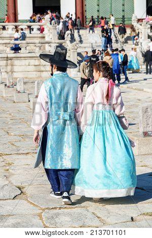 Young Couple Wearing Korean Traditional Dress, Gyeongbokgung