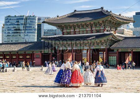 Tourists Wearing Korean Traditional Dress Hanbok, Gyeongbokgung