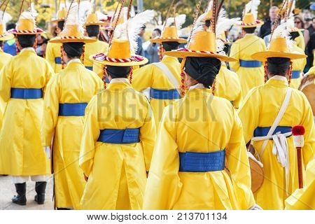 Performers In Korean Traditional Dress, Seoul, South Korea