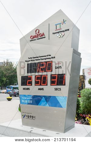 Countdown Clock For The Olympic Winter Games Pyeongchang 2018