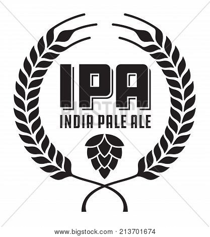 IPA or India Pale Ale Badge or Label. Craft beer vector design features wheat or barley wreath and hops.