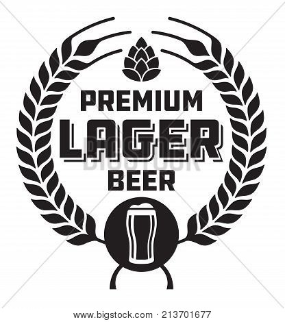 Lager Beer Badge or Label. Craft beer vector design features wheat or barley wreath, hops and glass of beer.
