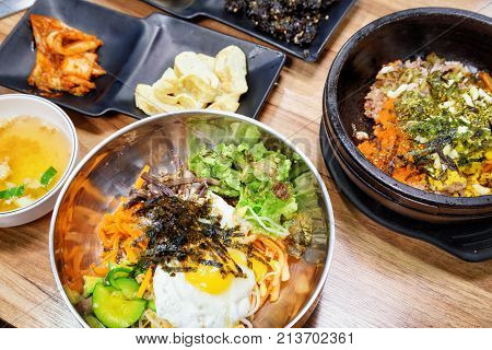 Bowl Of Hot Bibimbap. Popular Korean Dish