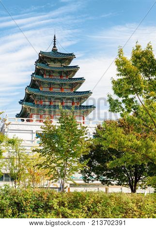 Tower Of The National Folk Museum Of Korea In Seoul