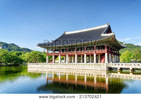 Amazing View Of Gyeonghoeru Pavilion At Gyeongbokgung Palace