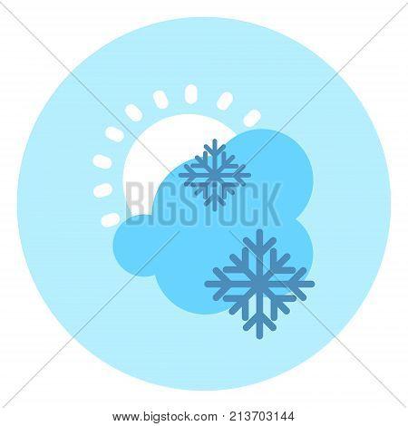 Weather Icon Cloud Sun Snow Forecast Vector Illustration