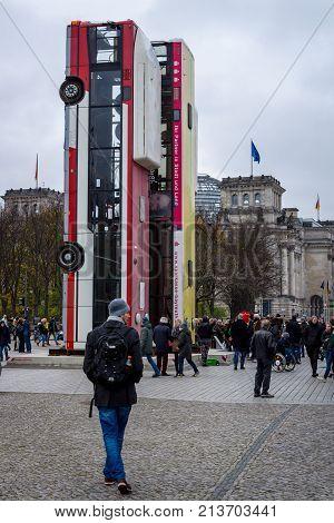 BERLIN - NOVEMBER 12 2017: The installation of the artwork