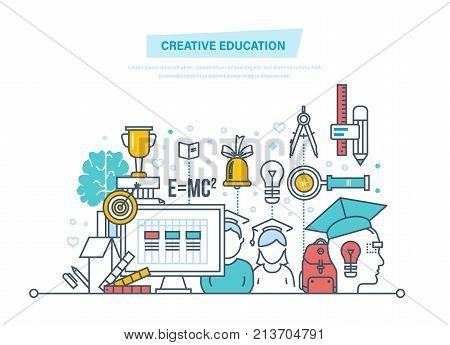 Creative education. Training, creativity distance learning, technology, knowledge, teaching, skills. Creativity, creative thinking smart education Illustration thin line design of vector doodles