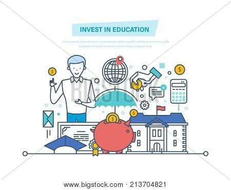 Invest in education. Financial investments in education, getting prestigious education, teaching, studying with teacher, tutor. Development students. Illustration thin line design of vector doodles.