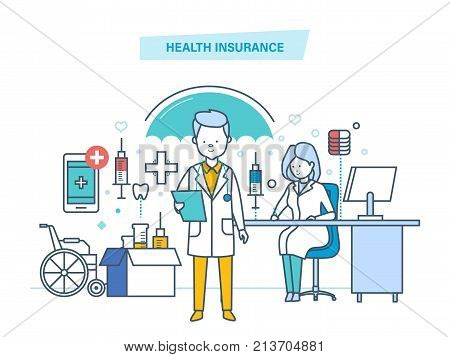 Health insurance concept. Life and accident medical insurance. Modern medicine, medical care, healthcare, protect and guarantee safety patients, first aid, ambulance. Illustration thin line design of vector doodles.