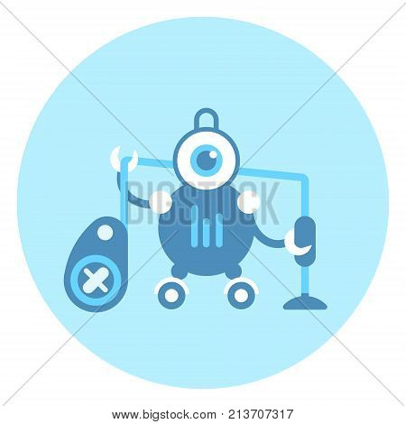 Robot Holding Vacuum Cleaner Icon Modern Housework Technology Vector Illustration