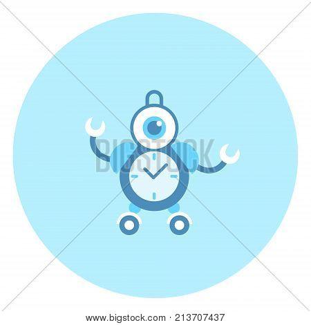 Robot Alarm Clock Icon Modern Housework Technology Vector Illustration