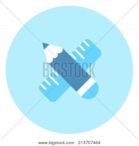 Pencil And Ruler Icon Measurement Concept Vector Illustration