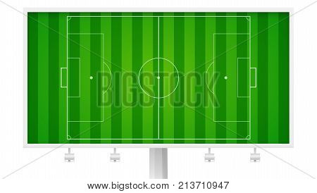 European football, soccer field on horizontal billboard. Field with markings and trimmed lawn, view from above. Resizable vector illustration for your, ready for print design. Isolated on white.