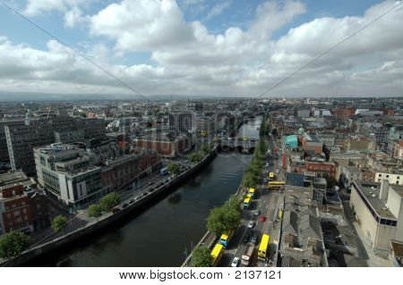 An aerial view of Dublin Citgy in Ireland poster