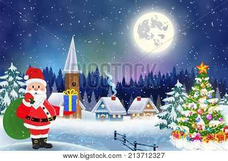 A house in a snowy Christmas landscape at night. christmas tree and Santa Claus with gift bag. concept for greeting or postal card