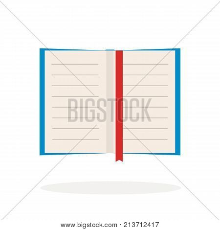 Empty vector flat book with bookmark on white background. Simple colorful icon with shadow. Illustration.